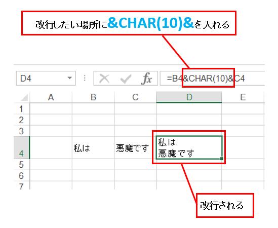 エクセルにおいて文字列結合時の改行を説明するための図