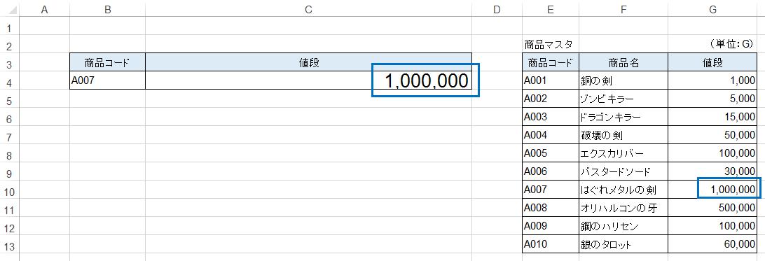 エクセルVLOOKUP関数の入力結果の説明