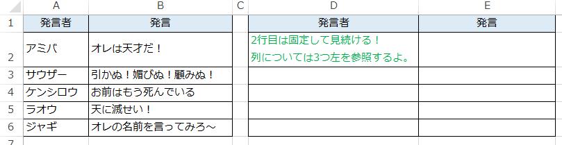 エクセルでドルマークを付けて複合参照で行を固定した場合の日本語
