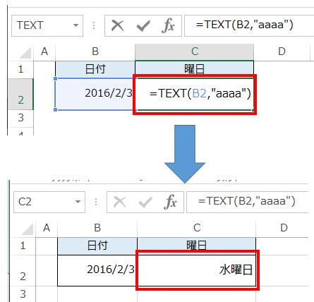 TEXT関数を使って日付を曜日に変換している図