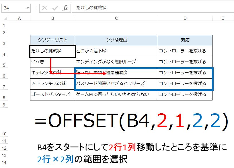 OFFSET関数の事例3